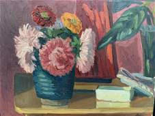Jack Beder, Oil on Board, Still Life, Flowers