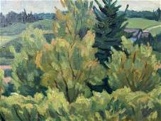 Jack Beder, Oil on Board, Bushes and Spruce