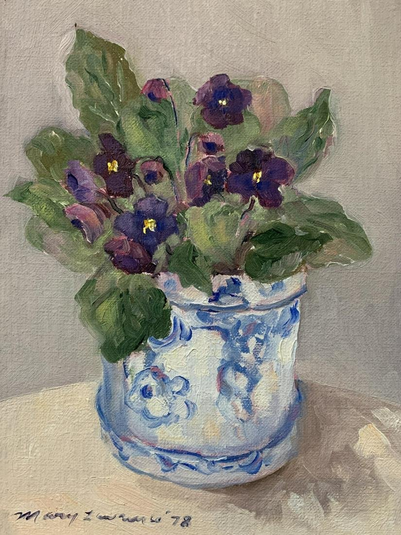 Mary Lawrence, Oil On Canvas, Still Life, Flowers