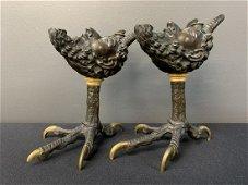 19th C French Cast Bronze Satyr Talon Smoking Set