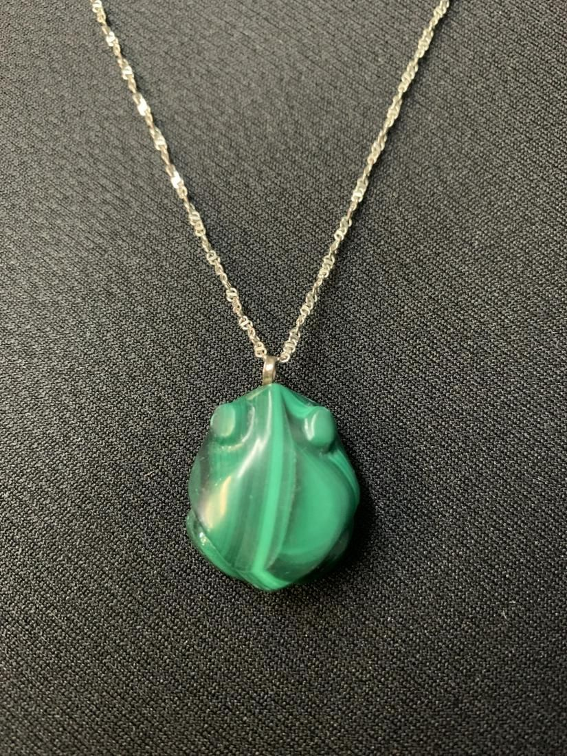 925 Silver Necklace With Malachite Frog Pendant