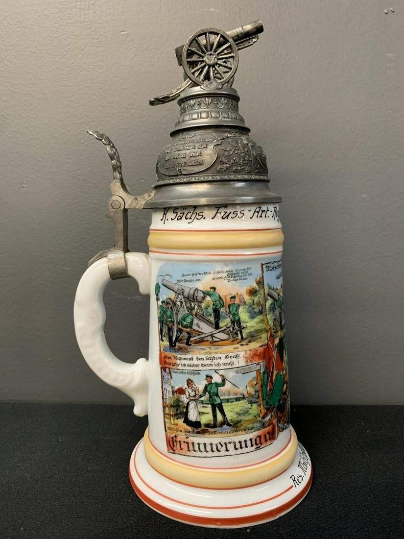 German Beer Stein With Canon On Lid