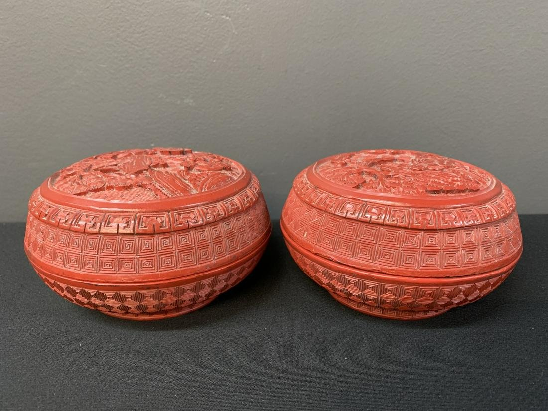 Pair Chinese Cinnabar Lacquer Boxes