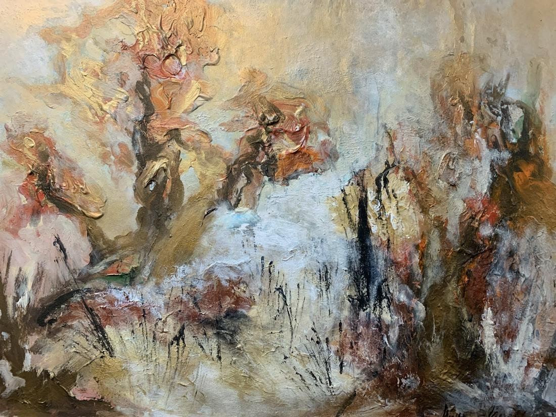 Abstract Oil On Board Landscape Signed Lower Right