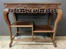 Chinese Carved Hardwood Altar Console Table