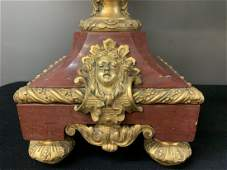 Pair 19th C Napoleon French Marble Ormolu Bronze Lamps