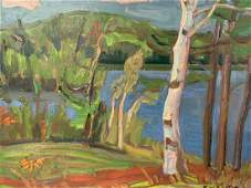 Ralph W Burton, Oil On Board, View Of Bennett Lake