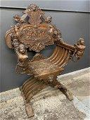 Italian 18th Century Hand Carved Savonarola Chair