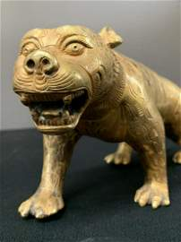 Chinese Or Japanese Gilt Bronze Tiger