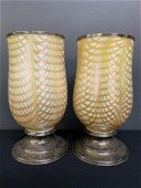 2 Lustre Art Glass Co Fishnet Silver Mount Shades