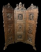Important European Armorial Carved Screen Divider