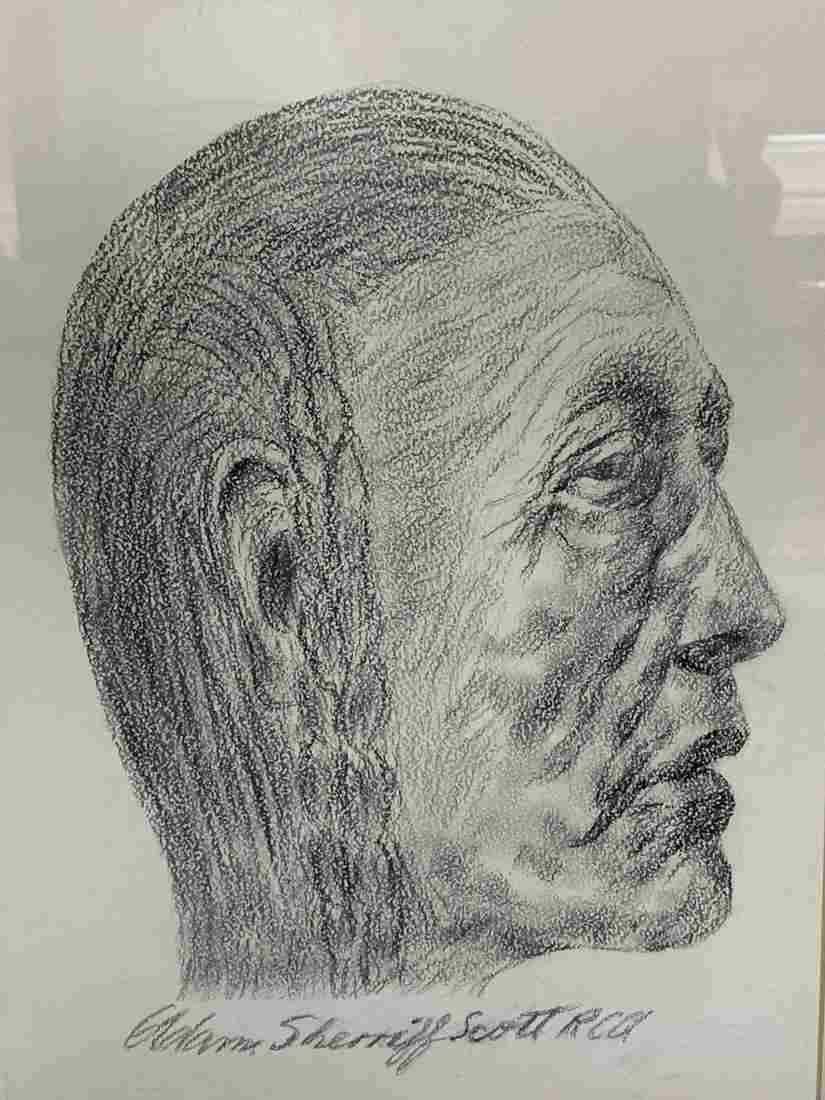 Adam Sheriff Scott, Charcoal On Paper, Portrait