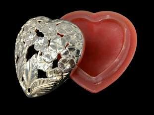 Christofle Silver Plate Glass Heart Trinket Box