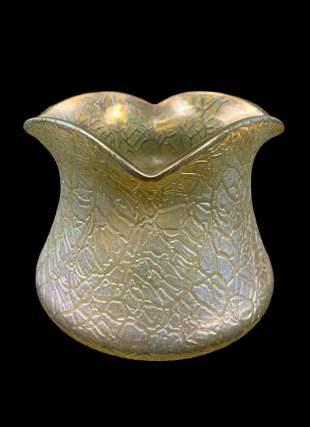Art Nouveau Art Glass Loetz Vase, Golden Crackle