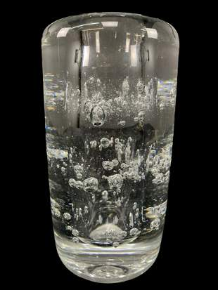 Modernist Art Glass Controlled Bubble Crystal Vase