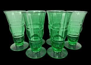 Lot Of 6 Depression Uranium Glass Goblets, Cups