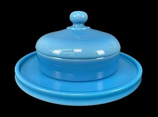 Blue Pressed Glass Covered Dish And Tray