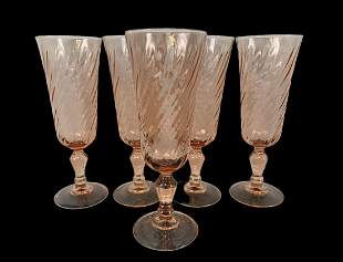 5 French Vintage Luminarc Swirled Pink Glasses