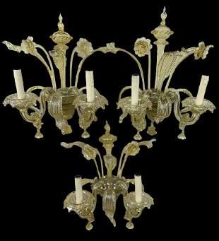 Lot Of 3 Murano Venetian Style Art Glass Sconces