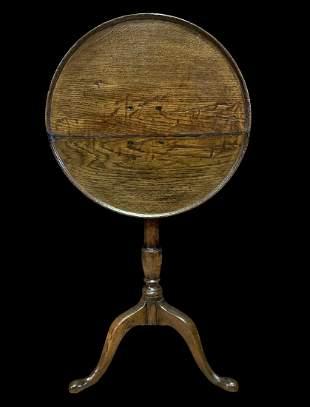 18th C. English Tilt Top Oak Dish Top Wine Table