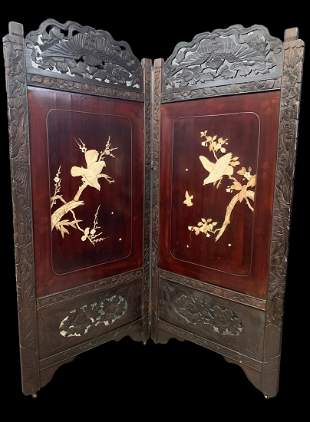 Japanese Chinese Wood, Stone Inlay 2 Panel Screen
