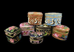 Lot Of Chinese Cloisonne Pill Boxes