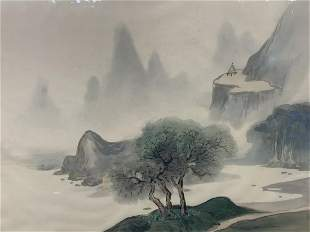 Chinese, Paint On Silk, Landscape, Signed
