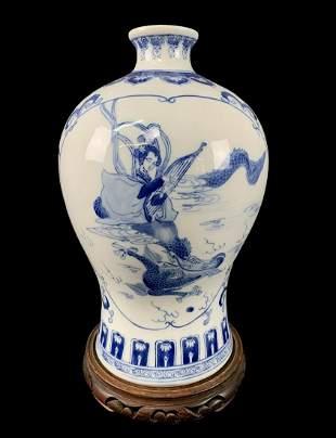 Chinese Flow Blue Porcelain Signed Vase On Stand