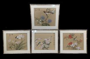 Lot 4 Chinese Painting On Silk, Signed 4 Seasons