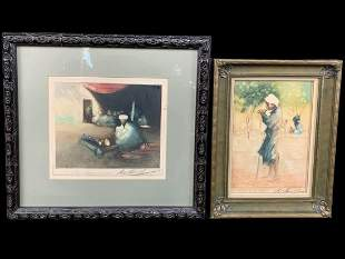 Hal Hurst, Lot Of 2 Orientalist Colored Etchings