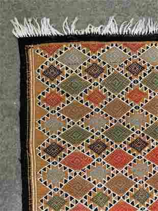 Moroccan Kilim Rug, Wool On Cotton