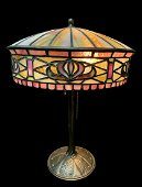 Art Nouveau Floral Mosaic Stained Glass Bronze Lamp