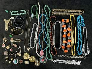 Vintage Lot Of Jade, Turquoise, Silver Jewelry