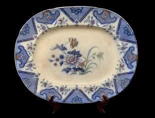 English Ironstone Chinoiserie Flow Blue Platter