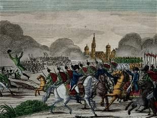 19th C Colored Engraving, Bataille De Mojaisk