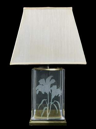 F. Ramond Floral Etched Frosted Glass Brass Lamp