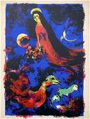 Vintage Marc Chagall Lithograph, Red Bride, Birds