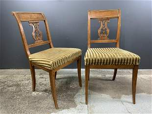 Pair Of Regency Sabre Leg Oak Brass Side Chairs