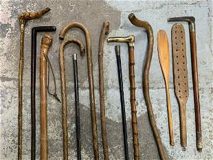 Lot Of Antique Wood Canes, Paddles, Riding Crops
