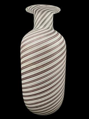 Murano Filigrana Spiral Vase, Signed On Base
