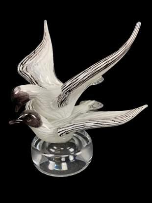 Art Glass Signed Birds, Seagulls