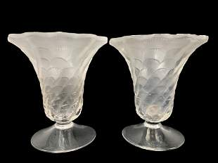 Pair Of Signed Lalique France Lucie Vases