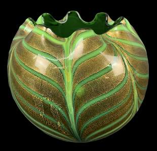 Green And Gold Pulled Feather Art Glass Vase