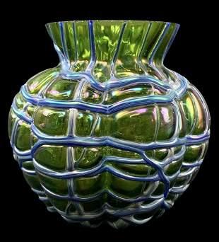 Loetz Green Iridescent Threaded Art Glass Vase