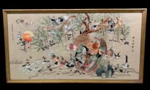 Antique Chinese Bird Of Paradise Silk Embroidery