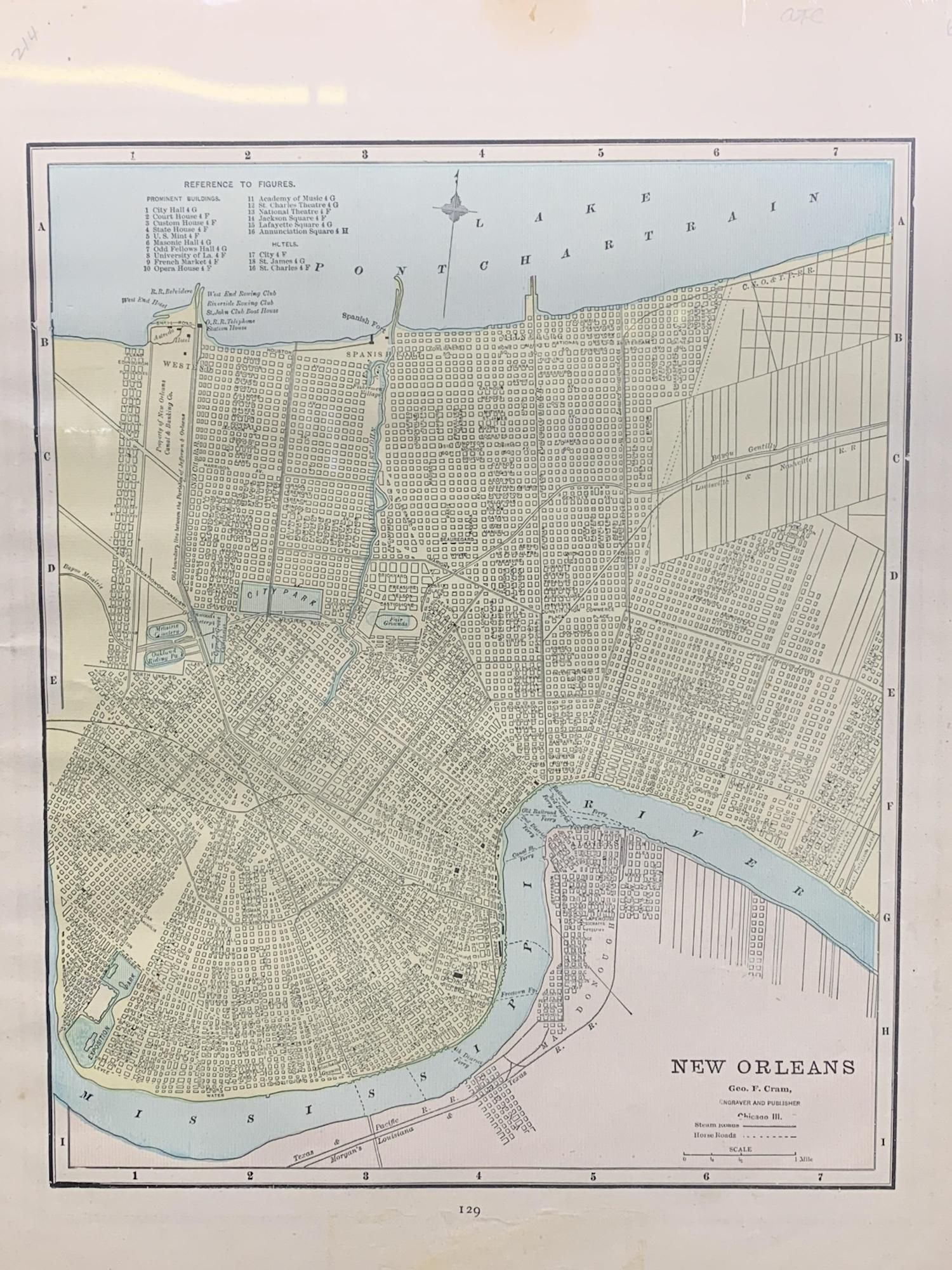 20th C George F. Cram Engraved Map Of New Orleans