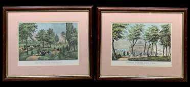 Lot Of 2 Of Currier And Ives Colored Prints