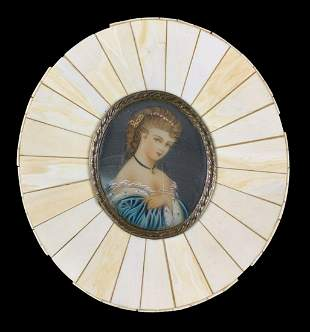 Hand Painted Miniature Portrait Of A Lady