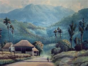 Indian Watercolor, Basar, Village Scene