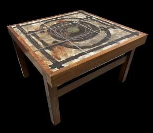 Danish Teak Ox Art Ceramic Tile Coffee Table